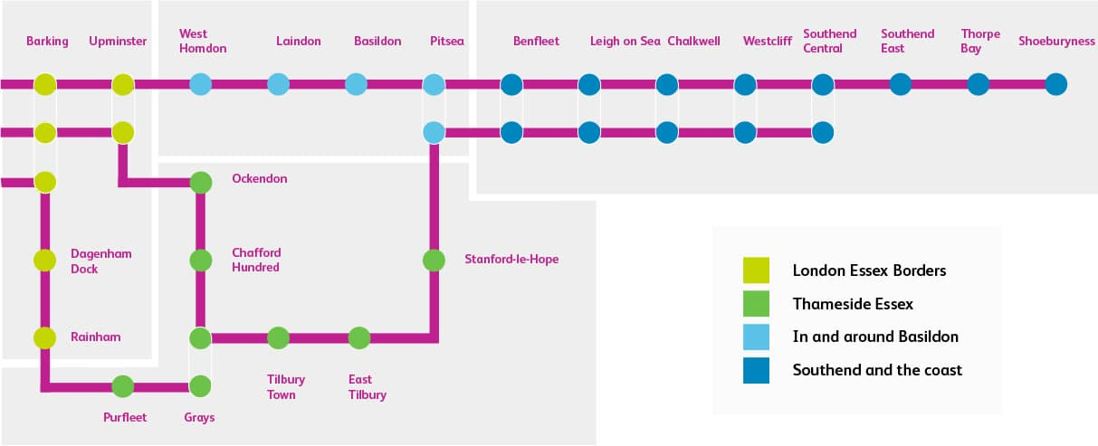 South Essex Route Map
